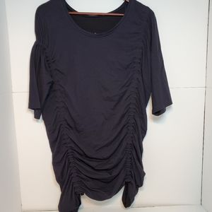 COS navy blue dress top short sleeve small